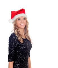 Attractive blonde girl with Christmas hat
