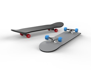 Skateboards with red and blue wheels
