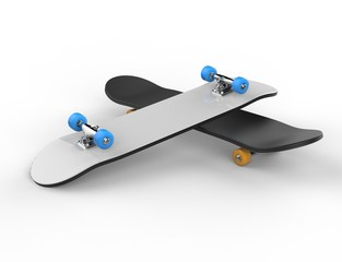 Two skateboards on top of each other