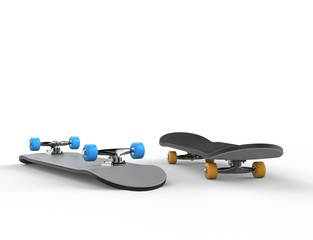 Skateboards with blue and yellow wheels