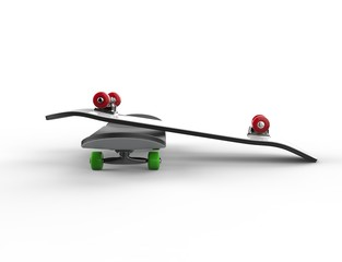 Two skateboards with red and green wheels - side view