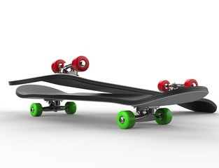 Two skateboards with red and green wheels - close up