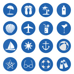 Summer and beach icons over blue