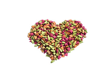 dry cat food heart shape on white background