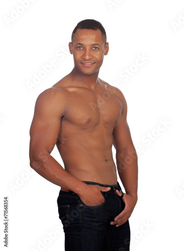 canvas print picture Handsome guy showing his strong abs and chest