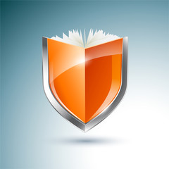 Orange book shield vector illustration