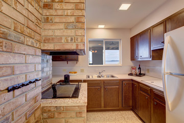 Basement kitchen room with chimney