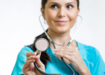 doctor with stethoscope close-up