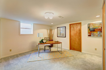 Basement office room with desk