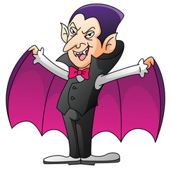 Dracula On Isolated White Cartoon