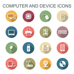 computer and device long shadow icons