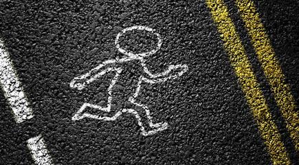 Small People on the asphalt road