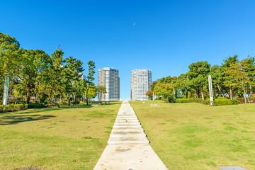 Landscape grass prospects the buildings of landmark.