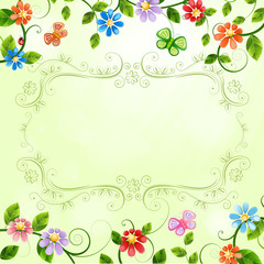 Floral illustration with colorful flowers.