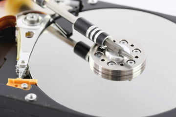 Black Hard disk in macro style.