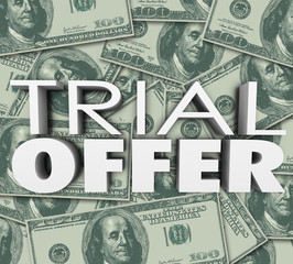 Trial Offer 3d Words Money Background Save Cash