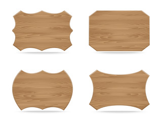 Set of various shapes wooden sign
