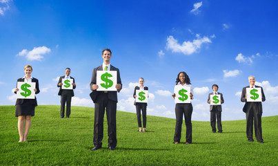 Group of Business People with Green Business
