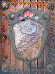 Wood background with decorative frame and map