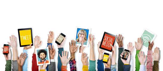 Hands Holding Digital Devices Social Media