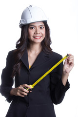 Asian Engineer women hold measure tape