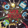 Group of People Around Word Web Design