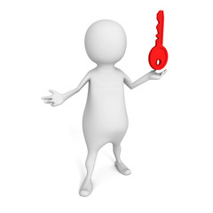 white 3d  person with red success  key