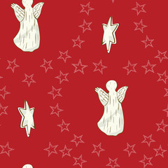 Angel  Seamless Christmas Pattern