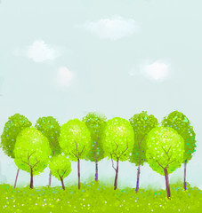 Fantasy green tree painting