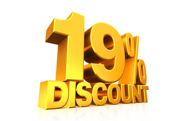 3D render gold text 19 percent discount.