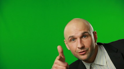 Businessman is showing up and pointing on you.FULL HD.