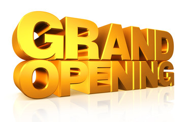 3D gold text grand opening.
