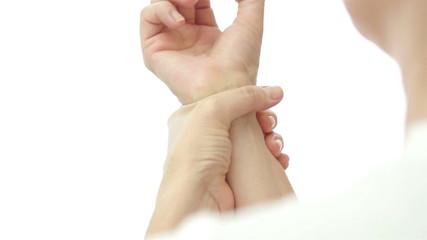 Female Wrist Pain Over Shoulder