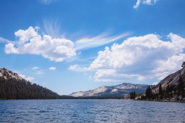 Tenaya lake with optical phenomena in sky