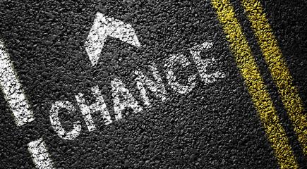 chance and arrow on the asphalt road