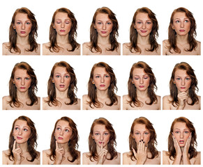 portraits of freckled girl with expressions