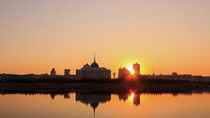 City lights illuminated. Zoom. Astana, Kazakhstan