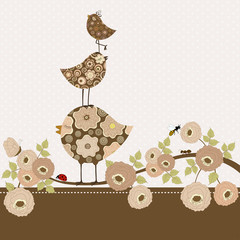 Greeting card with cute  birds on branch with flowers