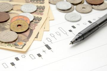 資産運用イメージ―株価のチャートとボールペン