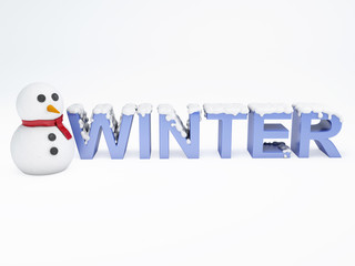 snowman and winter text. vacation concept on white background