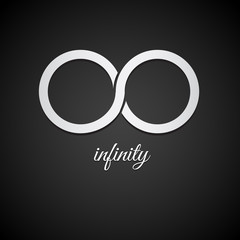 Infinity vector icon isolated on white background.