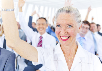 Business Woman Smiling and Hands Up