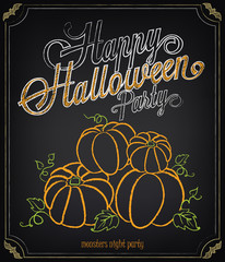 Vintage poster Happy Halloween. Invitation to party