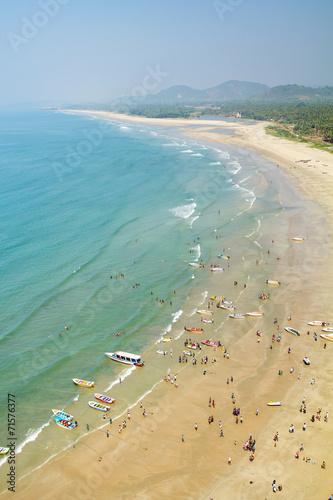 View of the beach from the tower-gopuram in Murudeshwar, Karnata - 71576377