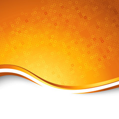 Bright orange swoosh wave particle background