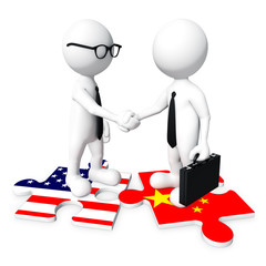 3D Businessman Handshaking American and Chinese