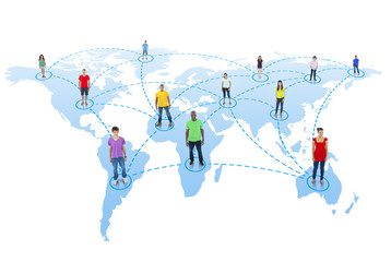 Group of People with Global Communications