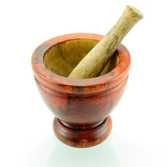 Thai Traditional wooden mortar on isolated white background