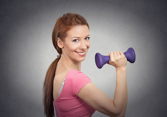 fit happy girl young woman working out with dumbbell