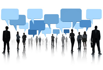 Multi-ethnic group of business people with speech bubbles